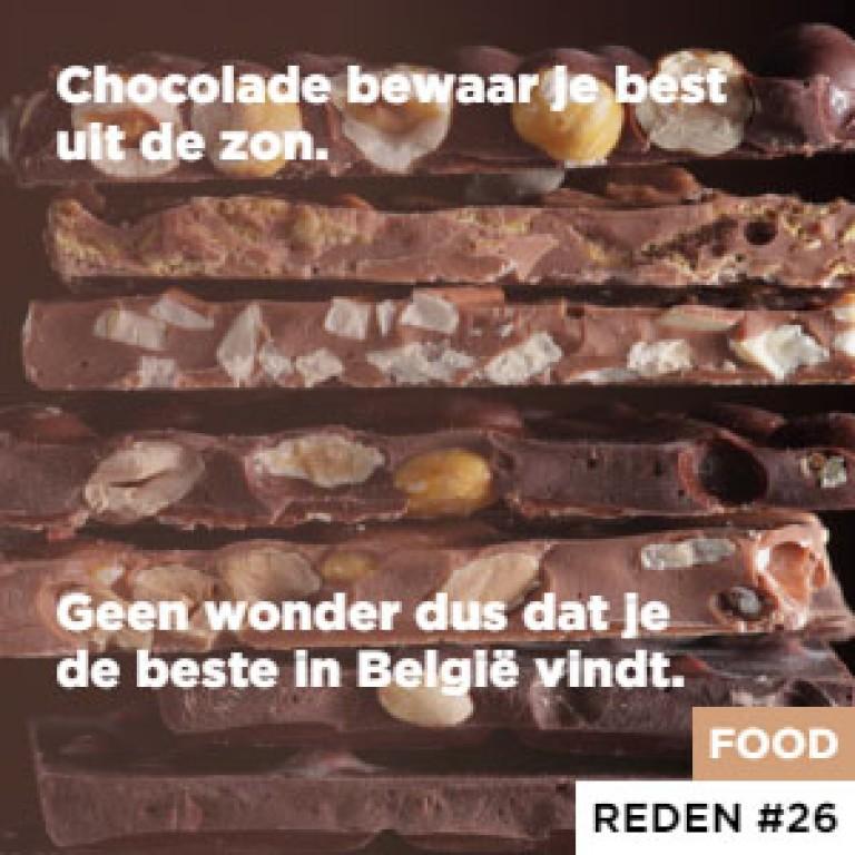 Chocolade bewaar je best uit de zon. - Geen wonder dus dat je de beste in België vindt.